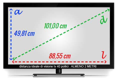 visione tv 40 pollici